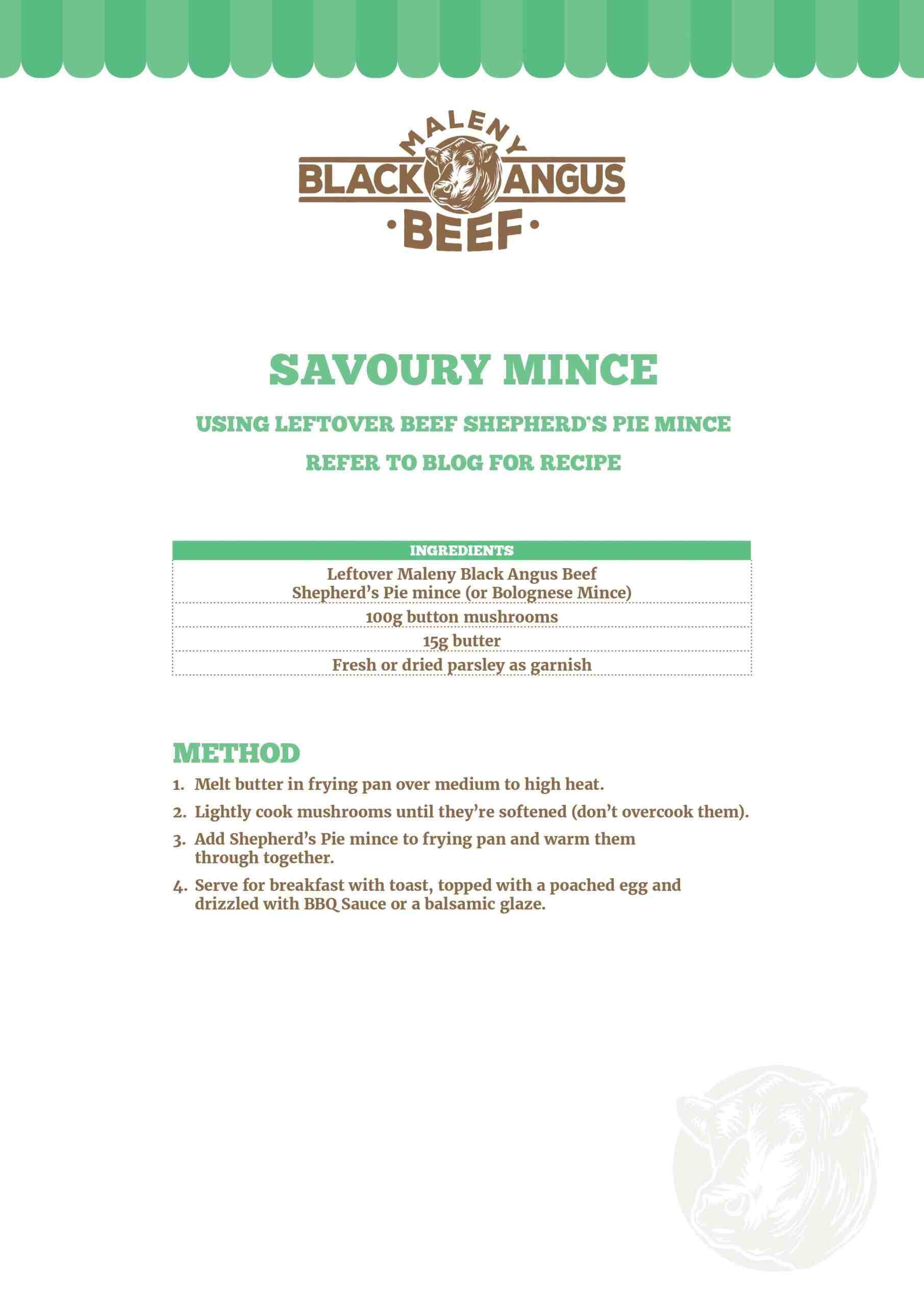 Savoury Mince recipe sheet