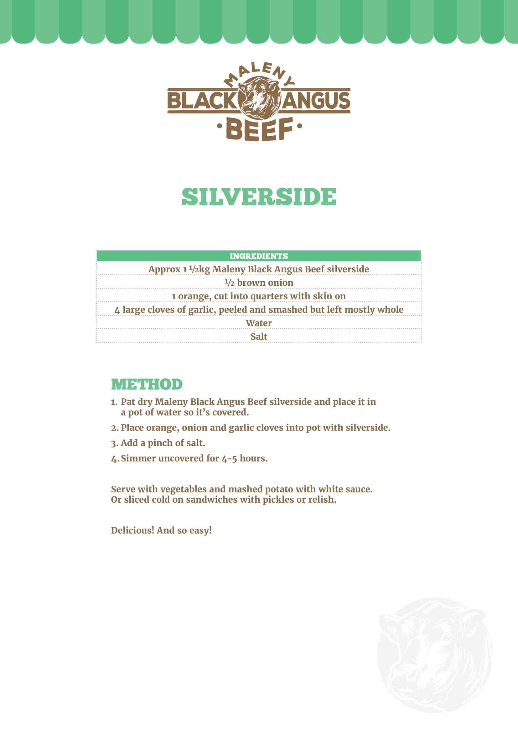 Silverside in a white plate