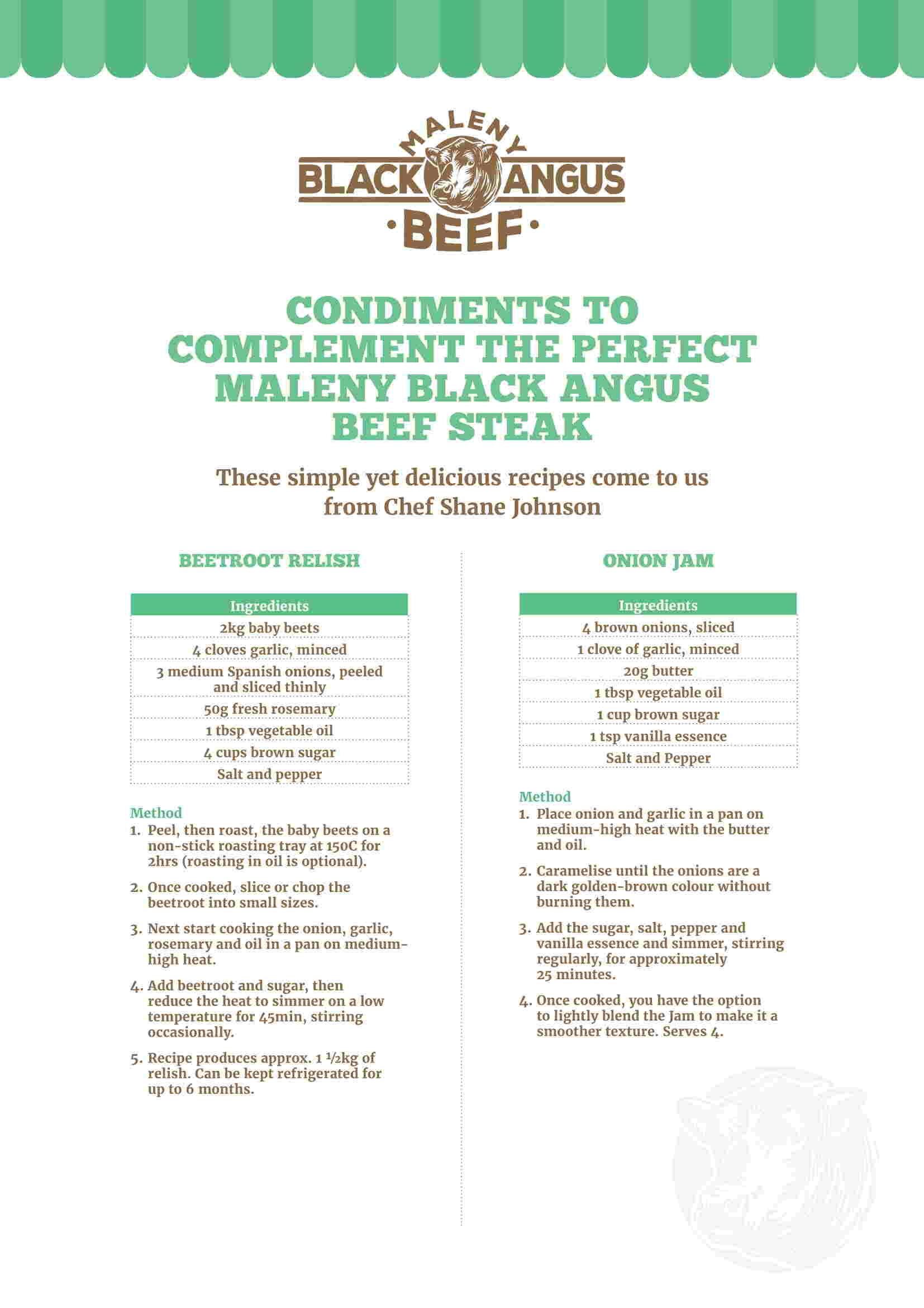 Condiments Recipe Sheet