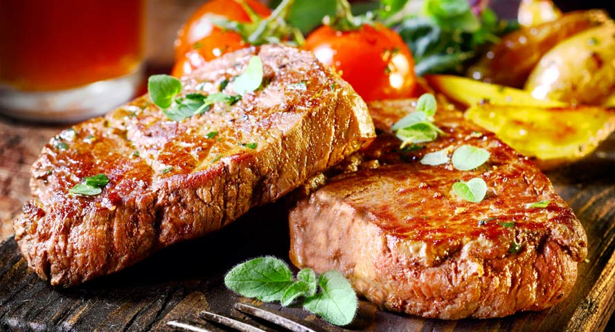 delicious steaks in a plate