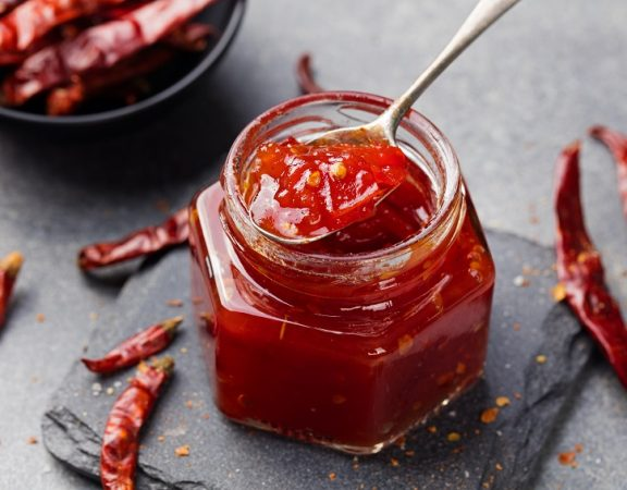 tomato and chili sauce jam confiture in a glass